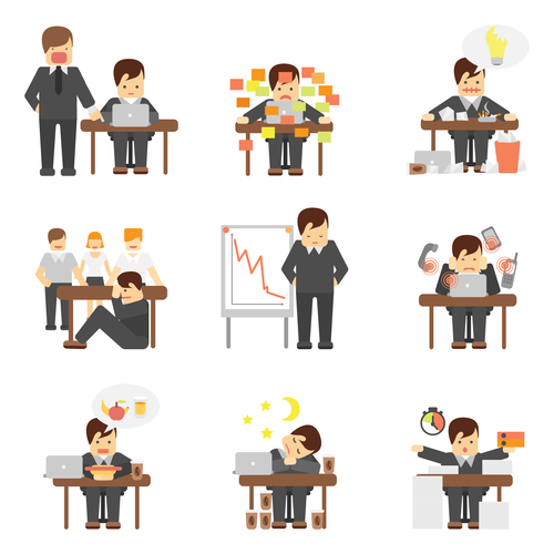 Stress at work icons set